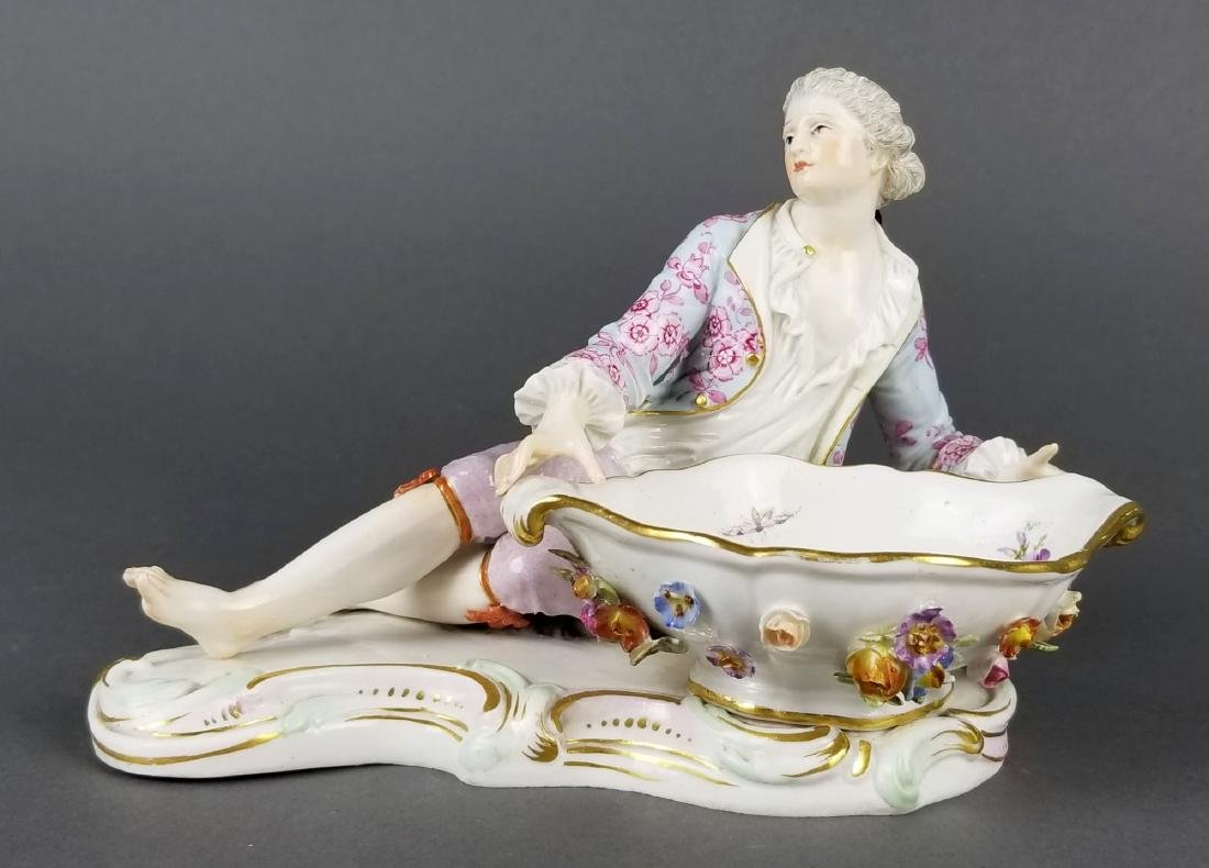 Pair of 19th C. Meissen Sweet Meat Figural Dishes - 6