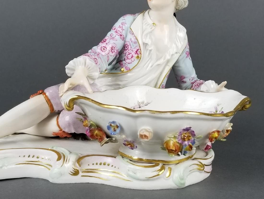 Pair of 19th C. Meissen Sweet Meat Figural Dishes - 7