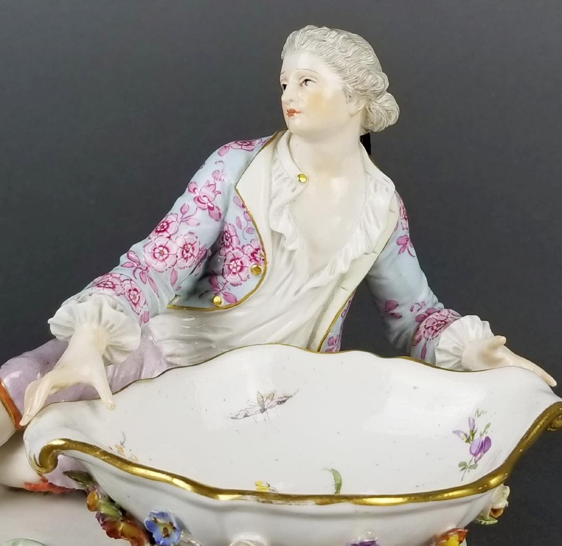 Pair of 19th C. Meissen Sweet Meat Figural Dishes - 8