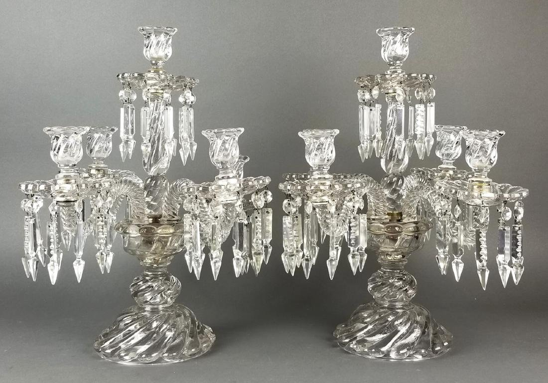 19th C. French Pair of Baccarat Crystal Candelabras