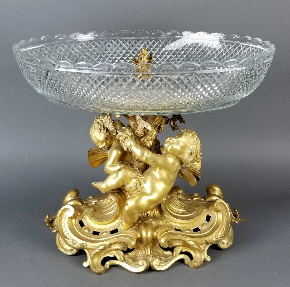 19th C. Large Bronze and Baccarat Crystal Centerpiece