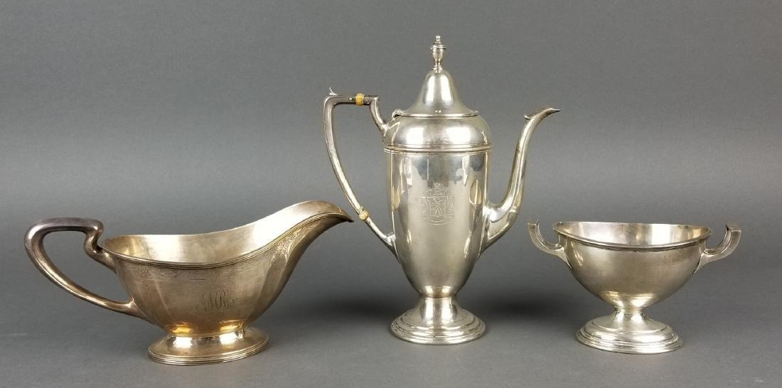 Set of 3 Misc Sterling Silver Teaset