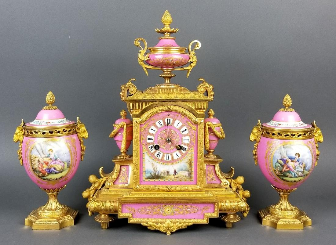 19th C. French Sevres Bronze and Porcelain Clockset