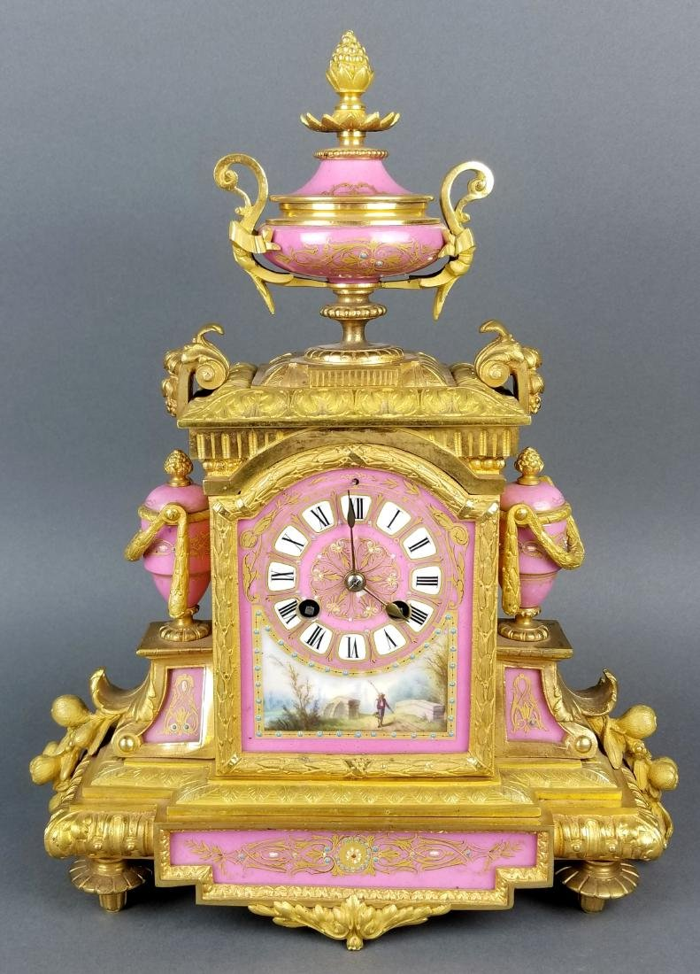 19th C. French Sevres Bronze and Porcelain Clockset - 2