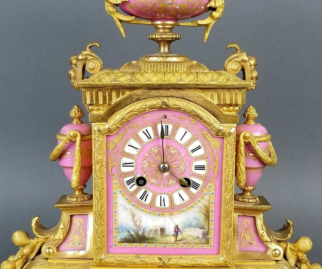 19th C. French Sevres Bronze and Porcelain Clockset - 3