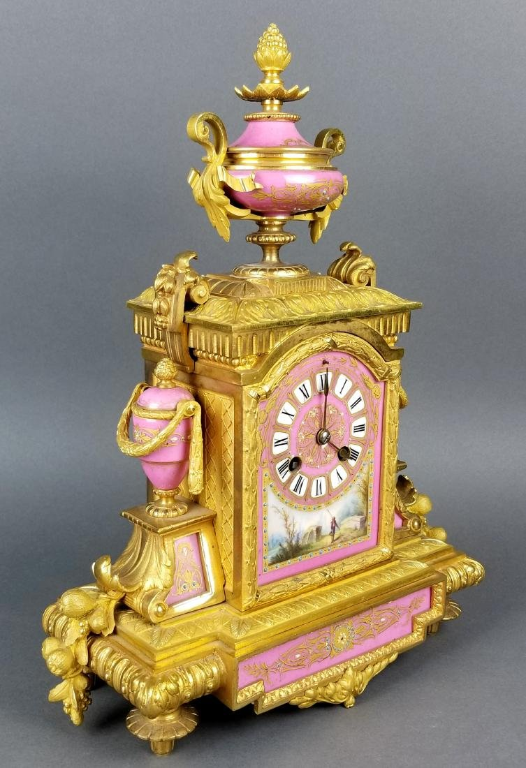 19th C. French Sevres Bronze and Porcelain Clockset - 4
