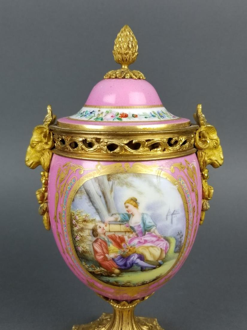 19th C. French Sevres Bronze and Porcelain Clockset - 9