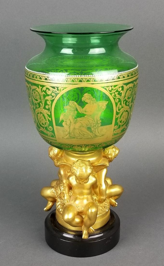 19th French Bronze and Crystal Vase