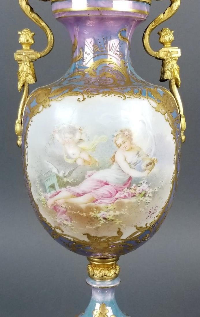 19th C. Handpainted Sevres French Vase - 2