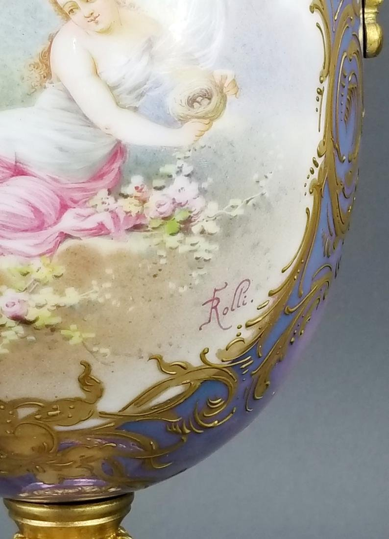 19th C. Handpainted Sevres French Vase - 4