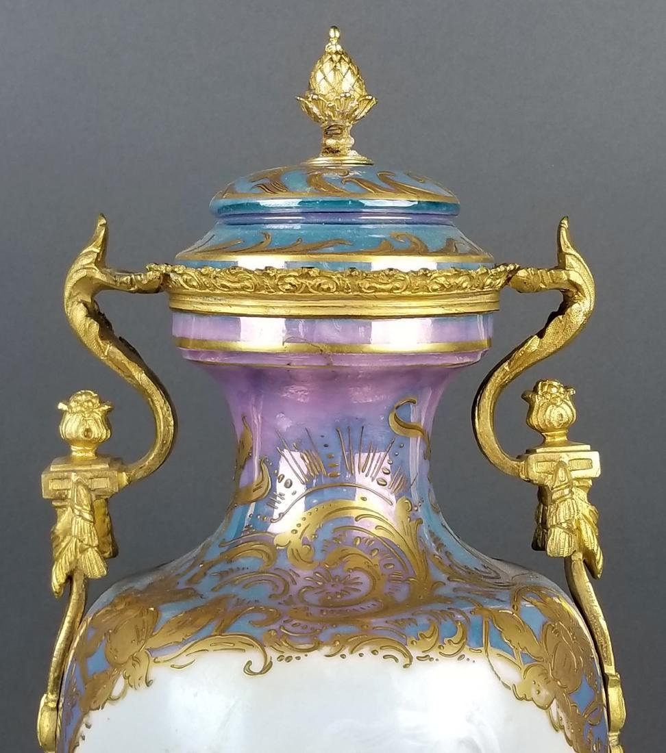 19th C. Handpainted Sevres French Vase - 5