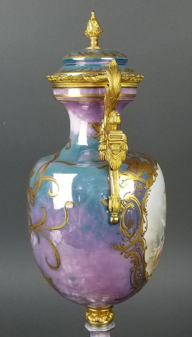 19th C. Handpainted Sevres French Vase - 7