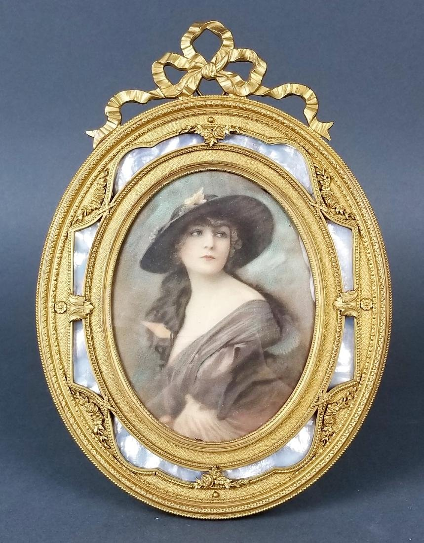 19th C. French Bronze and Enamel Picture Frame