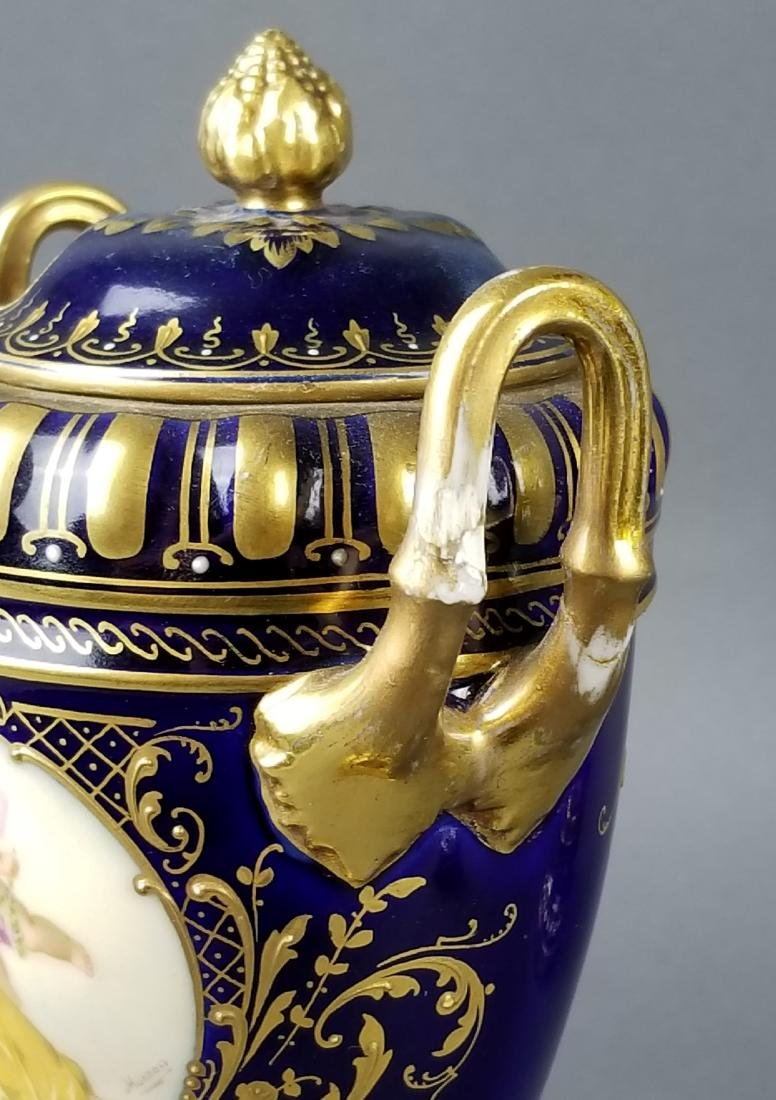 Pair of 19th C. Austrian Royal Vienna Vases - 9