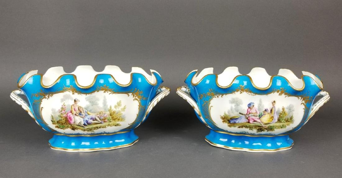 19th C. Pair of Sevres French Porcelain Vases