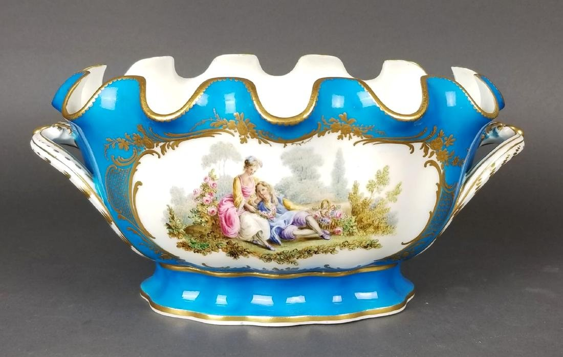 19th C. Pair of Sevres French Porcelain Vases - 2