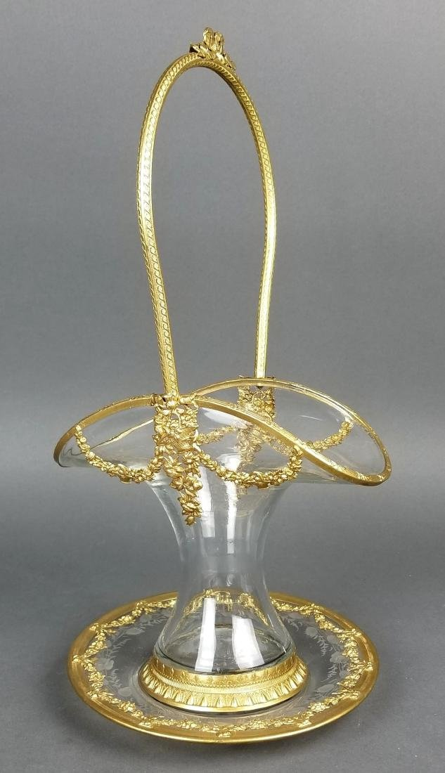 19th C. French and Baccarat Crystal Centerpiece Basket
