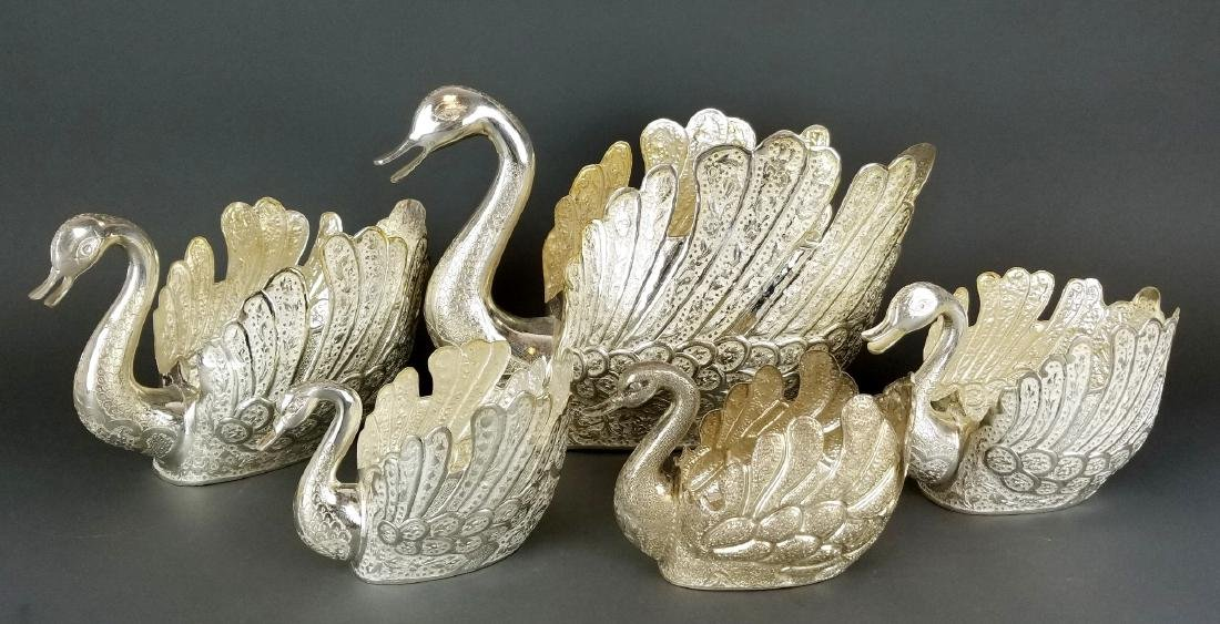 Set of 5 Persian Silver Hand Hammered/ Engraved Swans