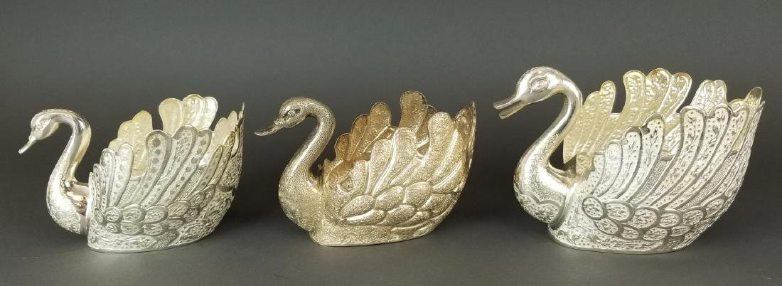 Set of 5 Persian Silver Hand Hammered/ Engraved Swans - 5