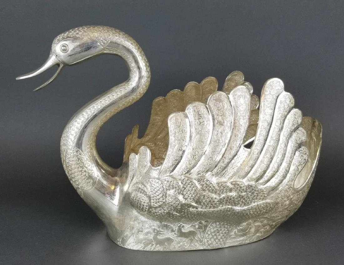 Persian Silver Hand Hammered/ Engraved Swan