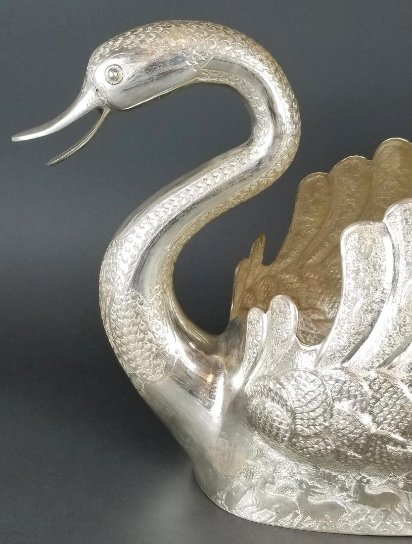 Persian Silver Hand Hammered/ Engraved Swan - 2