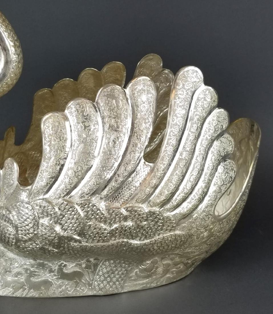 Persian Silver Hand Hammered/ Engraved Swan - 3