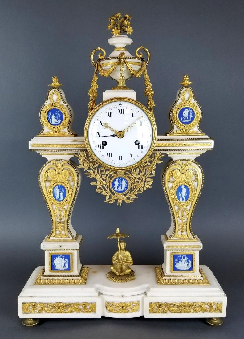 Large French Chinoiserie Bronze & Marble Clock, 19th C.