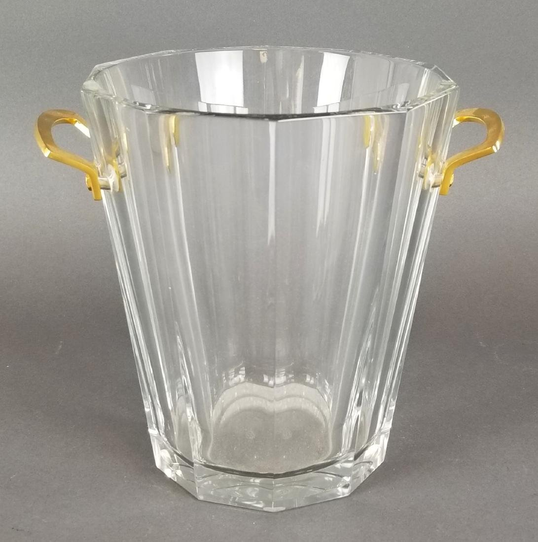 Baccarat French Crystal Bucket w/ Bronze Handles