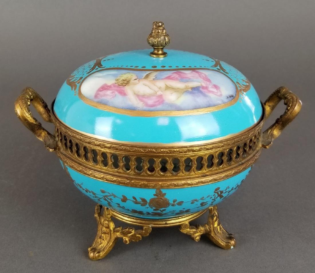 Ovington Porcelain & Bronze Covered Jewelry Box