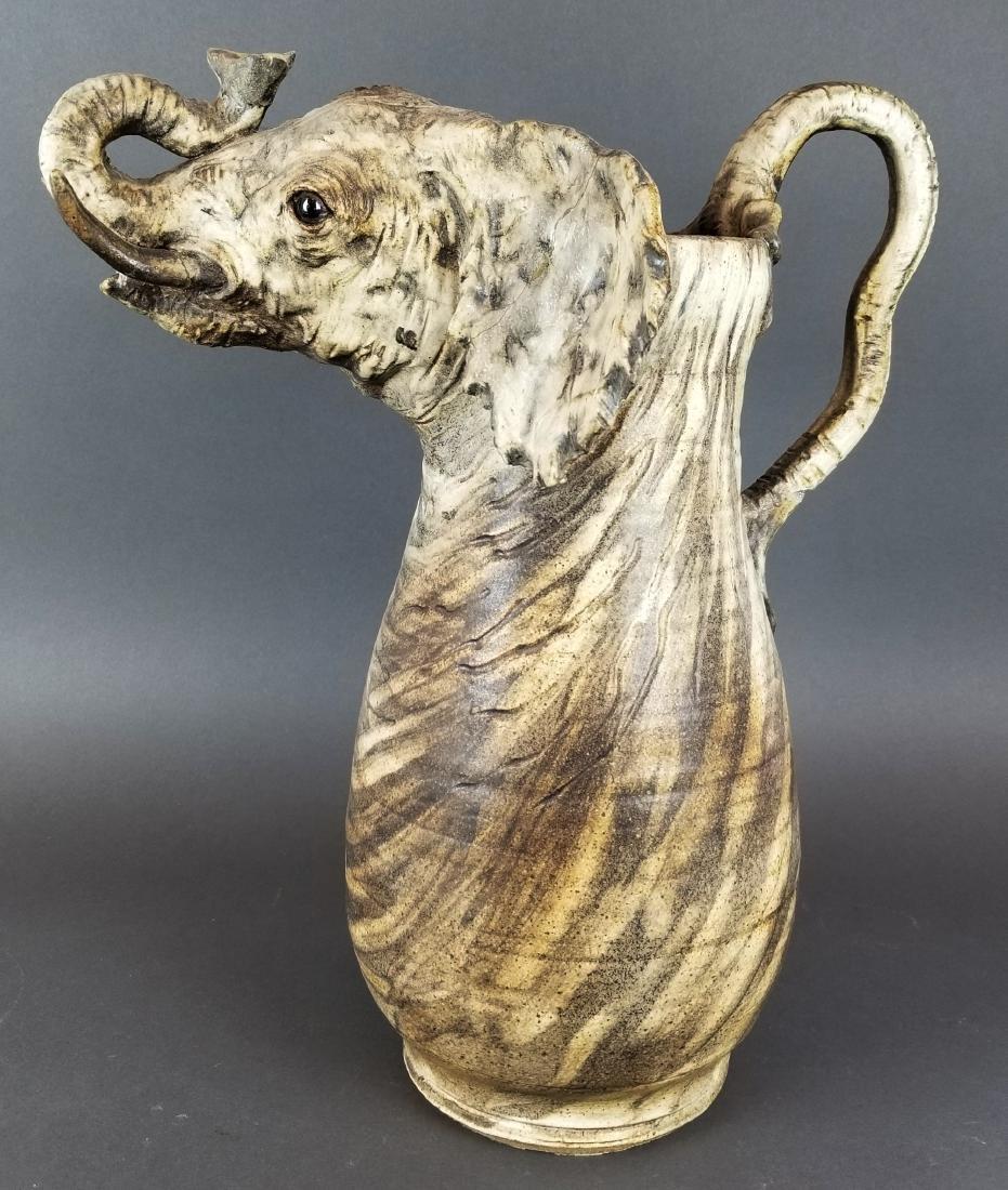 Large Carved Elephant Figural Jug