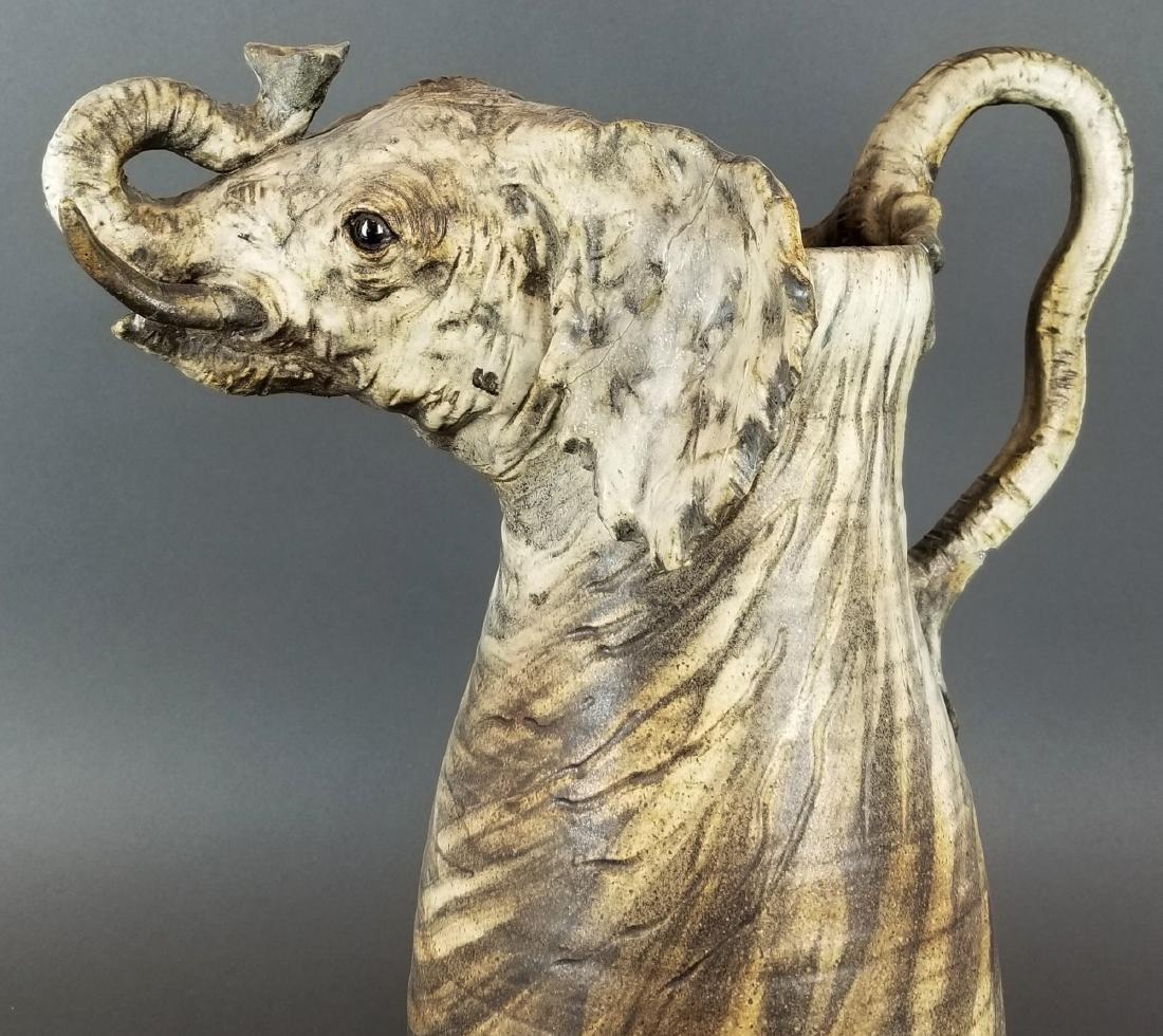 Large Carved Elephant Figural Jug - 2