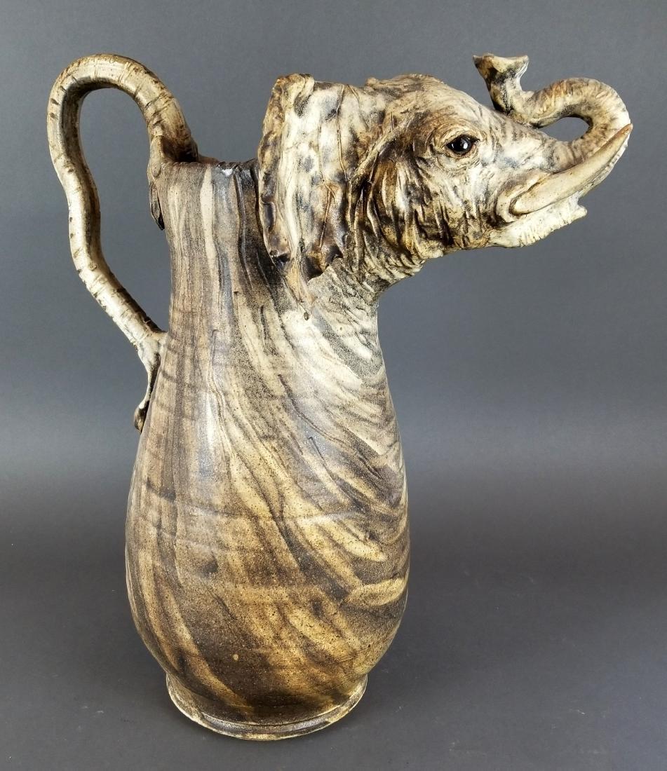 Large Carved Elephant Figural Jug - 3