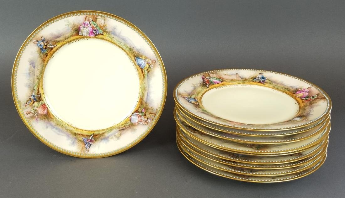 Set of 10 Dresden Porcelain Jewelled Plates