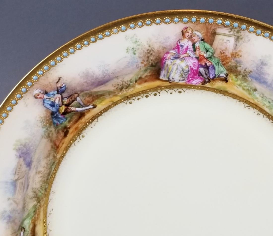 Set of 10 Dresden Porcelain Jewelled Plates - 3