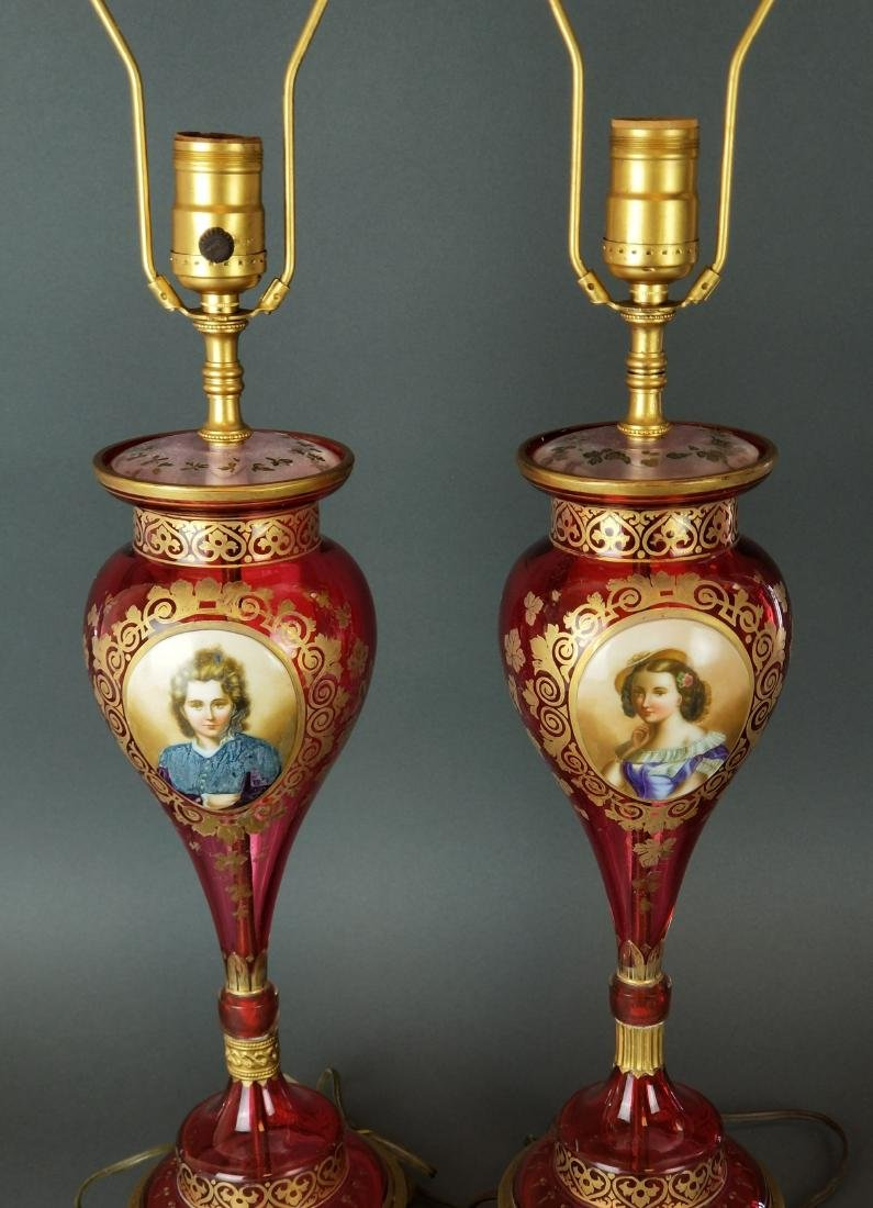 Pair of Bohemian Cranberry Glass Lamps - 2