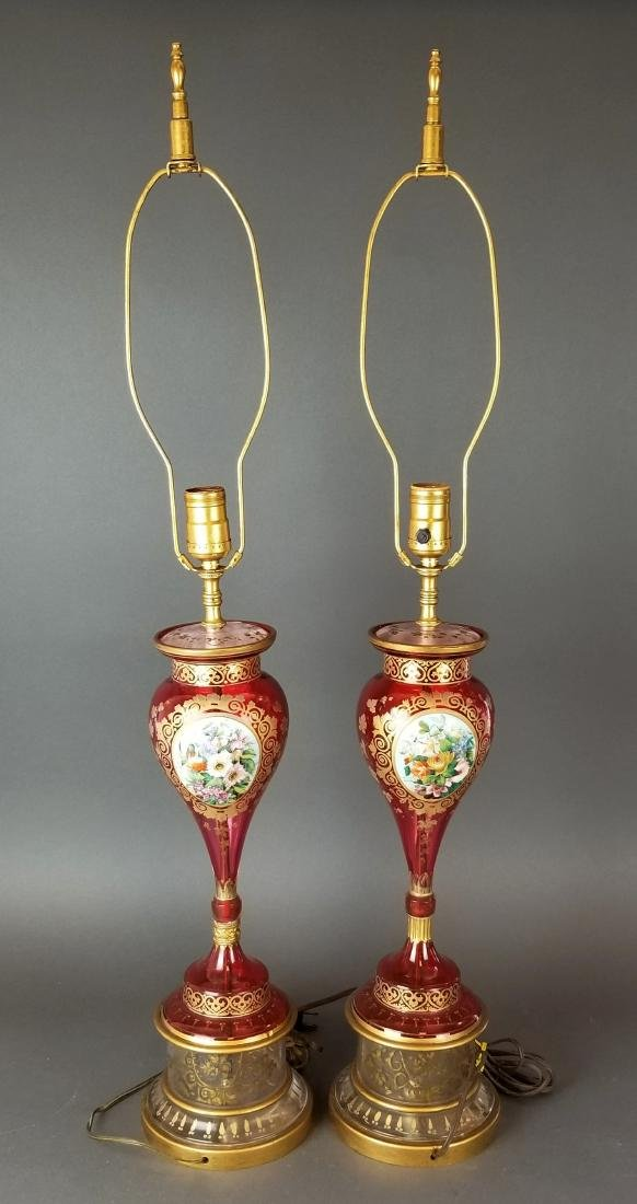 Pair of Bohemian Cranberry Glass Lamps - 4