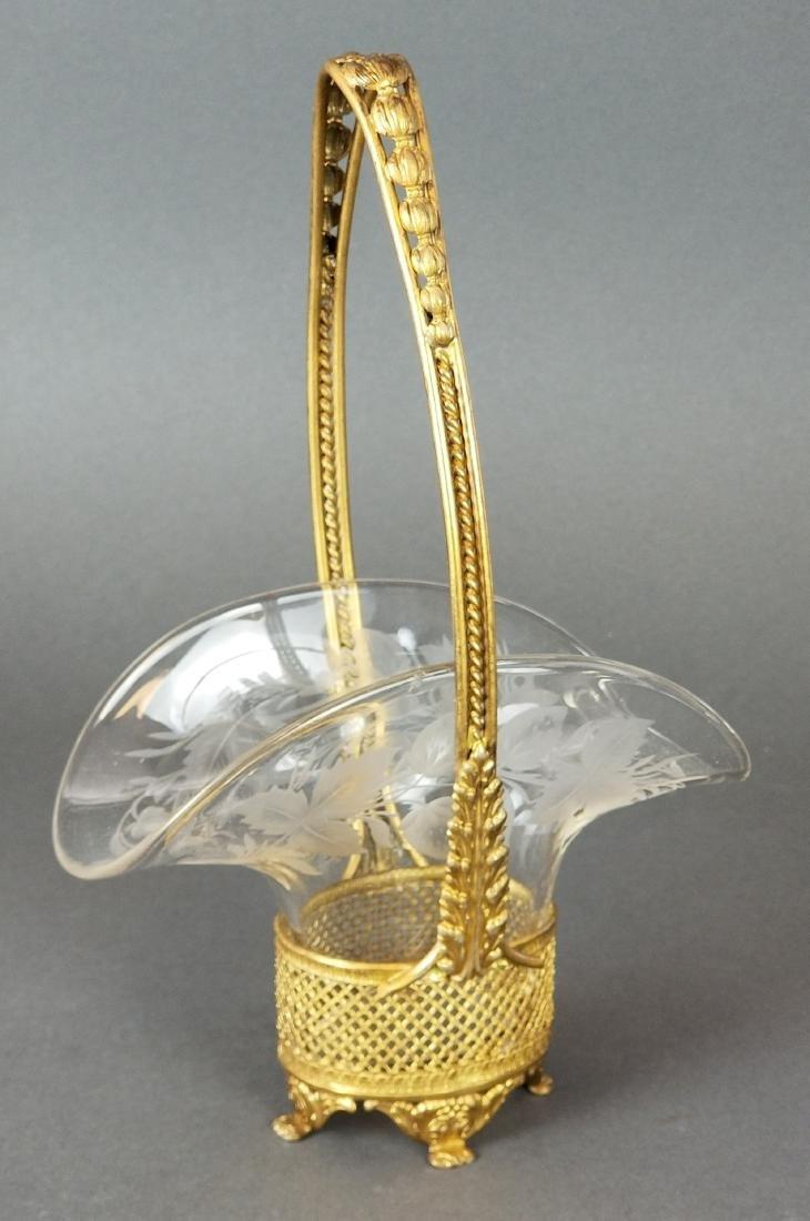 French Baccarat Crystal & Bronze Basket Centerpiece