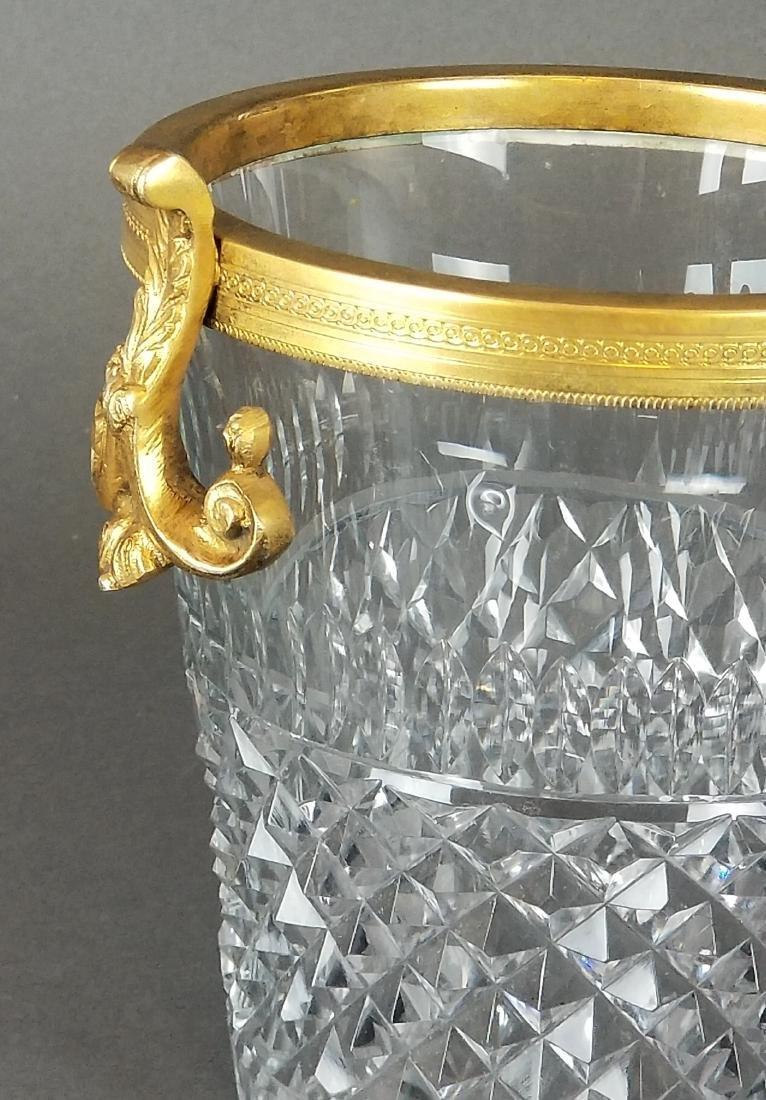 French Baccarat Cut Crystal & Bronze Bucket - 2