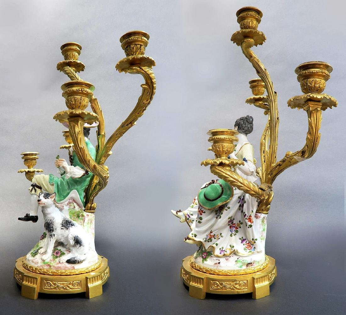 Pair of 19th C Gilt-Bronze-Mounted Meissen Porcelain - 2