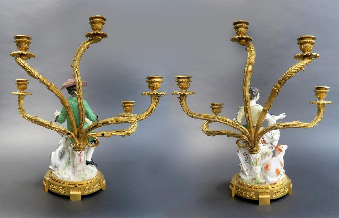 Pair of 19th C Gilt-Bronze-Mounted Meissen Porcelain - 4