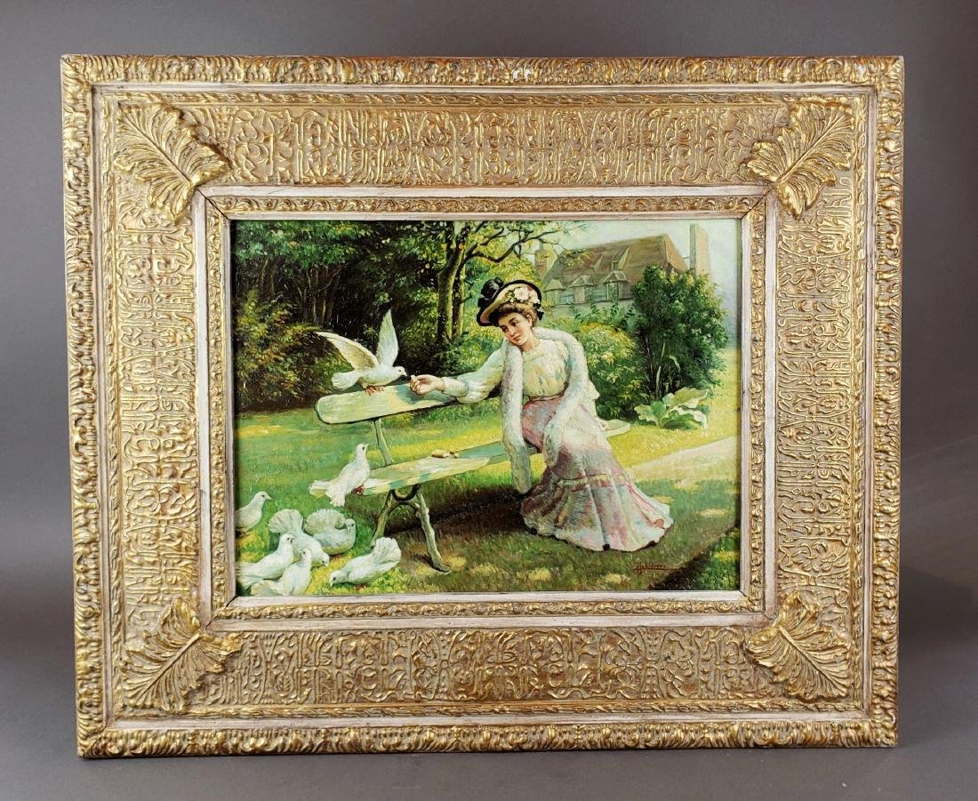 19th C. Oil on Board of Woman with Birds Signed J.