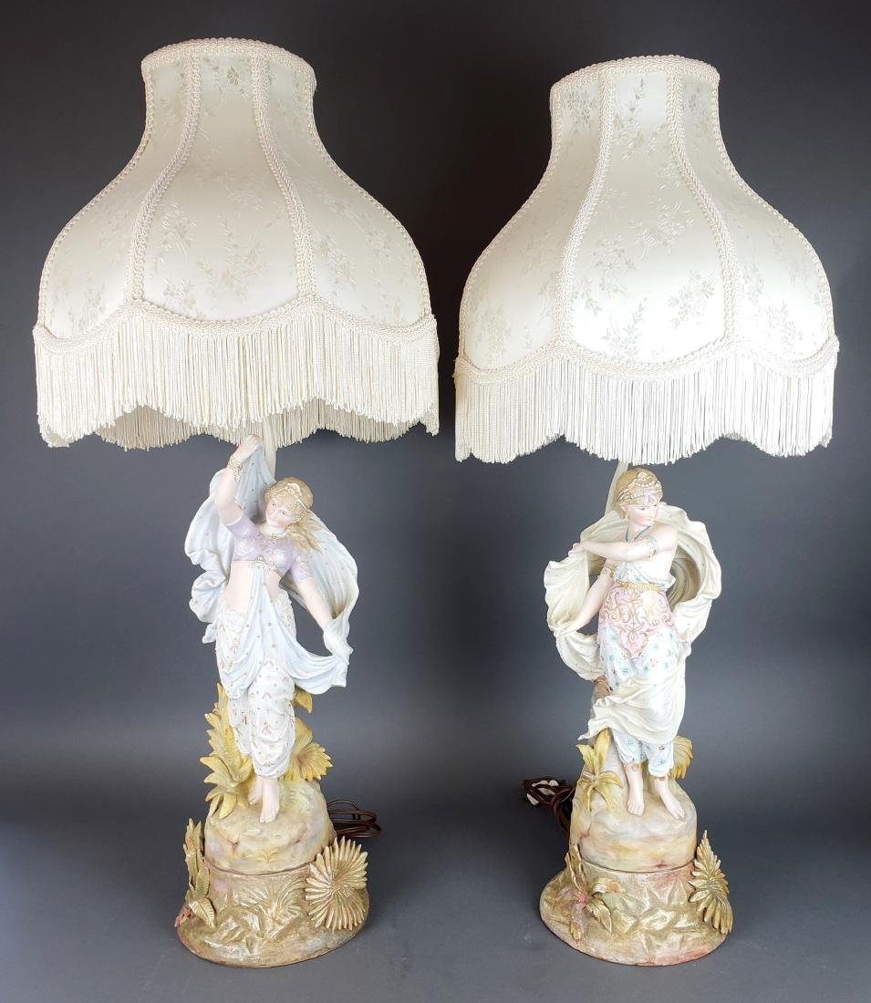 Pair of Antique Porcelain Figural Lamps with Shades
