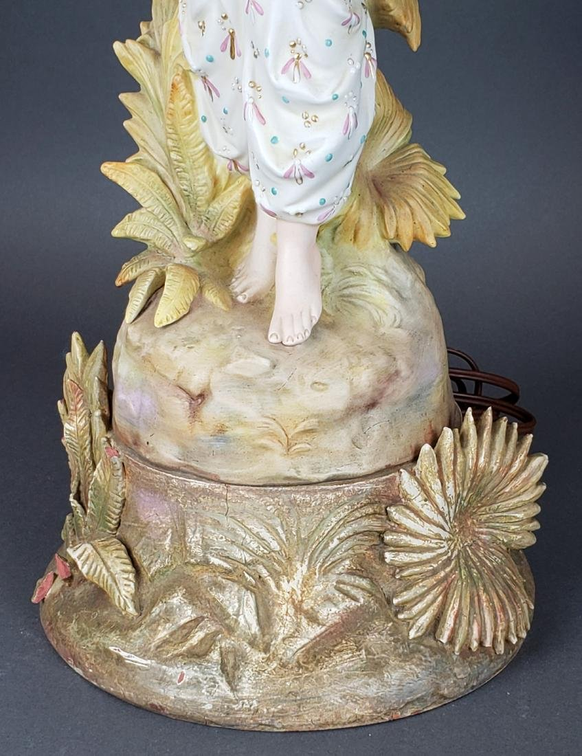 Pair of Antique Porcelain Figural Lamps with Shades - 4