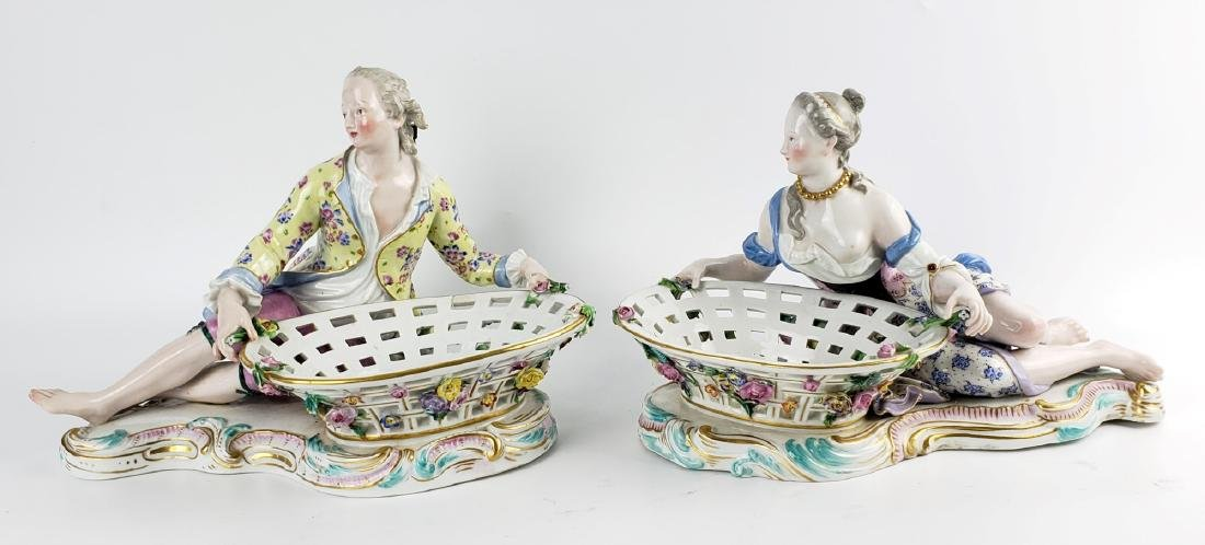 Pair of Large Meissen Figural Sweet Meat Dishes, 19th