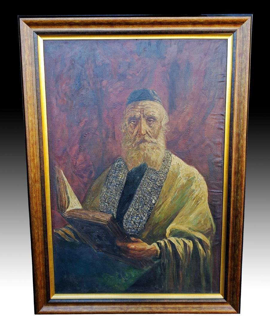 Monumental Oil on Canvas of a Rabbi Signed