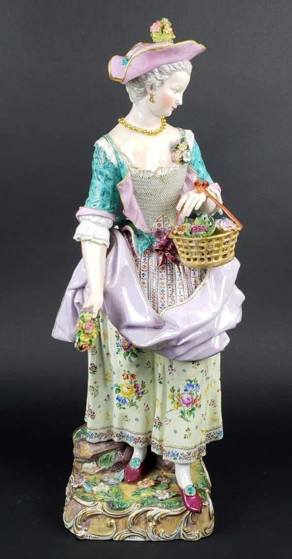 Very Large 19th C. Meissen Porcelain Figure of Woman w/