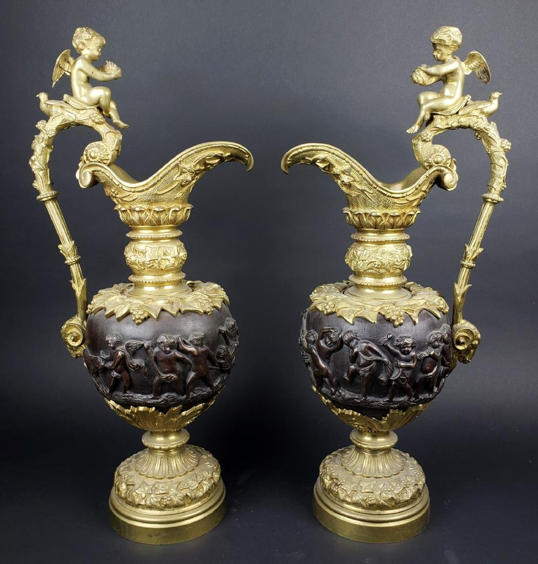 Large Pair of 19th C. Gilt & Patinated Bronze Urns