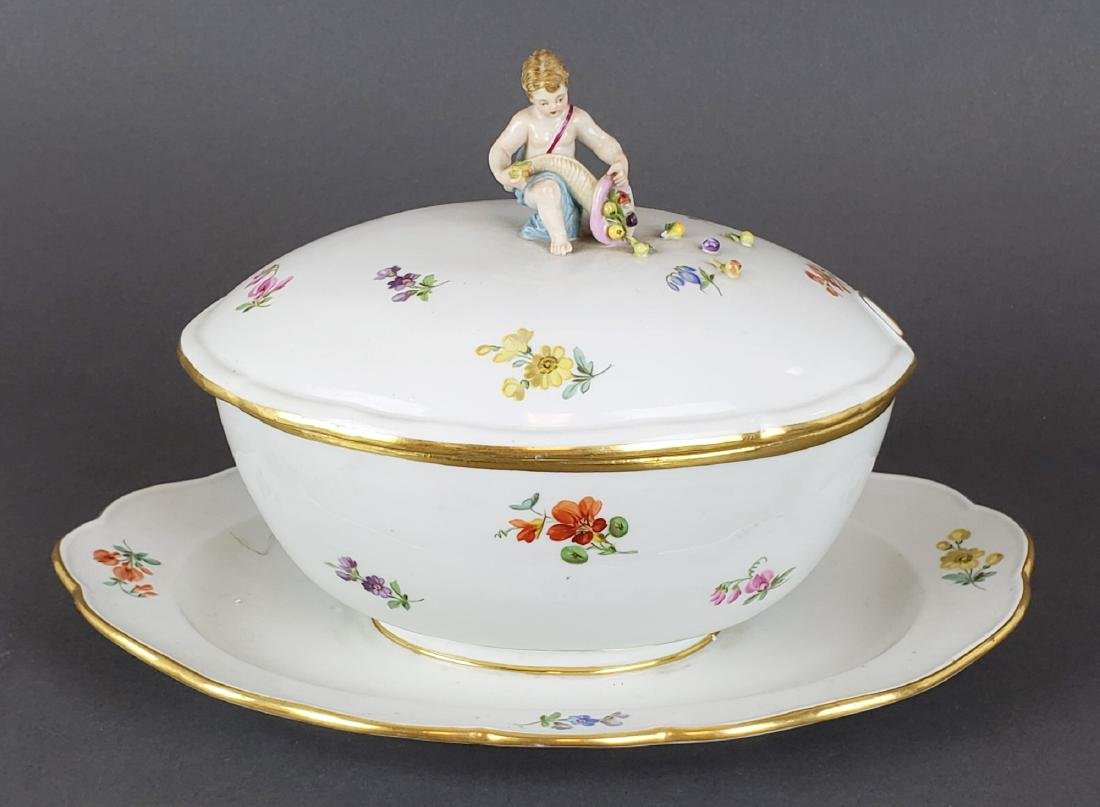 19th C. Meissen Porcelain Figural Bowl and Underplate