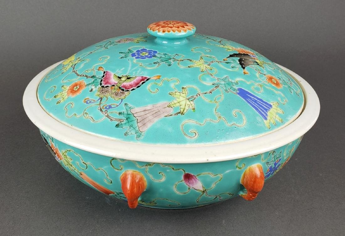 Large 19th C. Chinese Porcelain Bowl w/ Cover