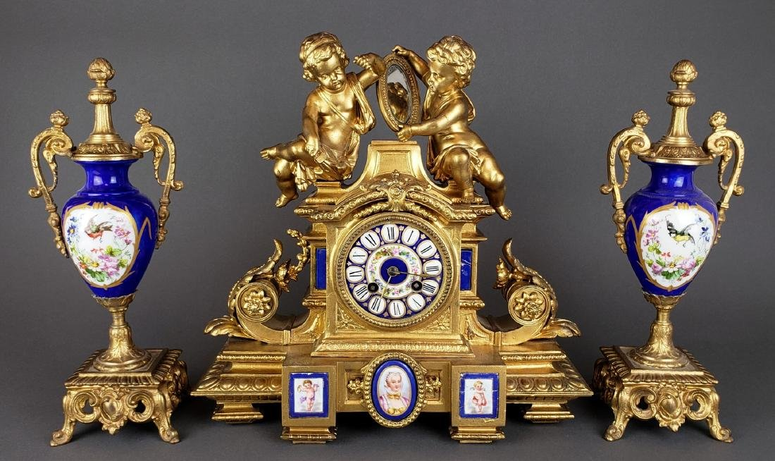 19th C. Sevres Porcelain Figural Clockset